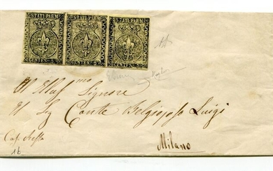 Italian Ancient States - Parma 1857 - 5 cents light yellow, strip of three on letter from Castel San Giovanni to Milan - Sassone N. 1b