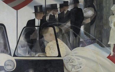 Julia Heseltine - 'The Bride and the Mourners', oil on board, signed recto, titled Royal A