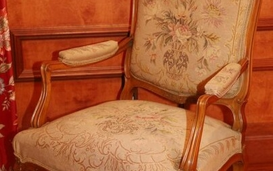 LOUIS XV STYLE NEEDLEPOINT UPHOLSTERED ARMCHAIR