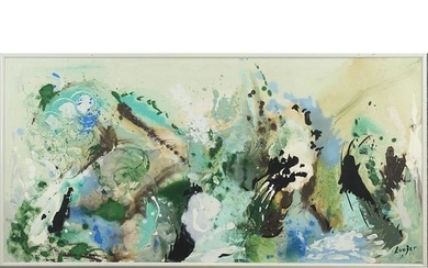 Langer, 20th C. Oil on Canvas Abstract Painting, Signed
