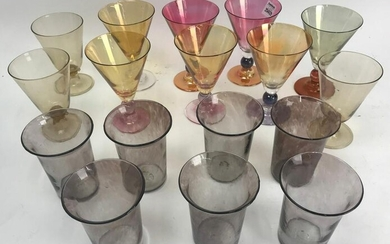 Large Collection of Colored Stemware