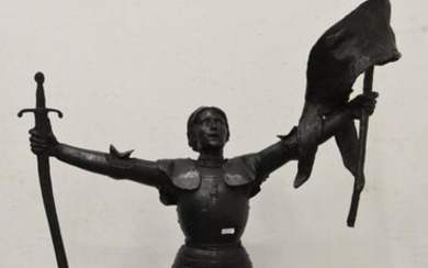 Large bronze representing Joan of Arc, trace of signature, early 20th century (Ht 115cm)