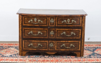 Large chest of drawers in olive wood marquetry...