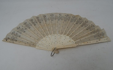 Late 19th Century Ivory & Lace Fan: Measuring 24cm folded.