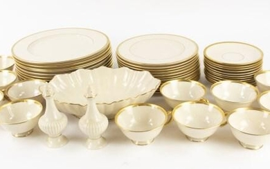 "Lenox ""Tuxedo"" Gold Banded Dinner Service for 12"