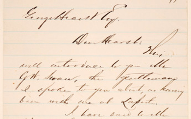 Letter about GW Swan from WD Snow to George Hearst #101467