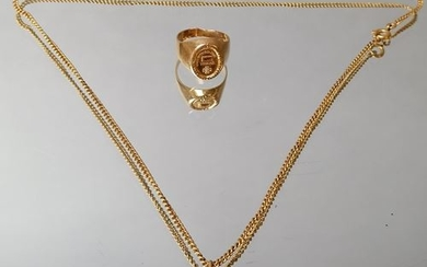 Lot of gold jewelry including a necklace and...