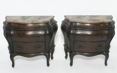 Louis XV Manner Bombe Low Commodes, Pair