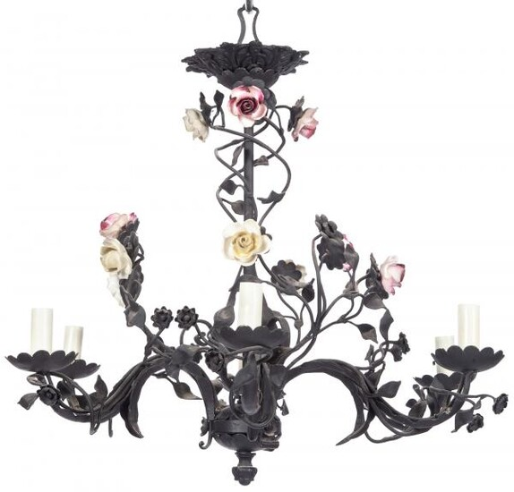 Louis XV Style Iron and Porcelain Six-Light Chandelier