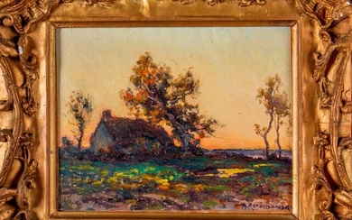 "Michel KOROCHANSKY (1866-1925), "" Chaumière "". Oil on..."