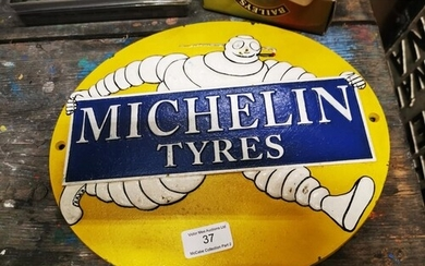 Michelin Tyres cast iron advertising sign. { 26cm H X 29cm W...