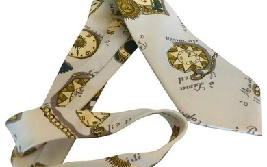 Mid-Century Fornasetti Silk Tie with a Timepiece Motif