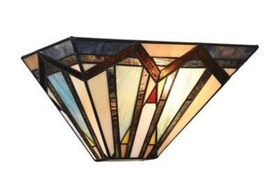 Vintage SCHLITZ Tiffany Style Stain Glass Chandelier Baroque
