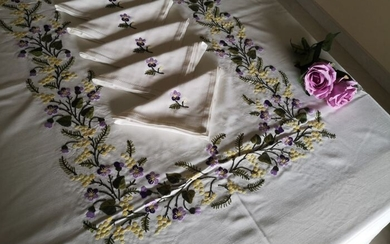 Mixed linen tablecloth with full stitch embroidery - Cotton, Linen - 20th century