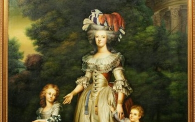 OIL ON CANVAS MARIE ANTOINETTE AND CHILDREN