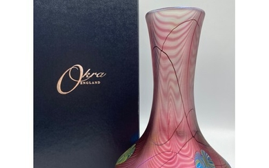 Okra D.Barras signed English pink glass vase adorned with gi...