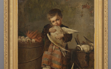 """Oldrich Farsky """"Untitled (Boy with goose) oil"""