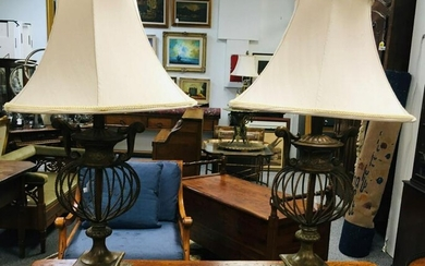PAIR FAUX BRONZE WIRE FORM TABLE LAMPS
