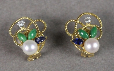 PAIR OF EAR CLIPS made of twisted yellow gold wire decorated with a cultured pearl, two shuttle-cut green stones, a pear-cut sapphire and a brilliant.