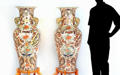 PAIR OF PALATIAL JAPANESE VASES ON STANDS