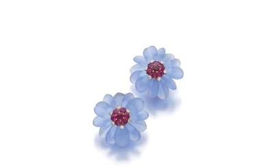 PAIR OF RUBY, DIAMOND AND CHALCEDONY EAR CLIPS, ALETTO BROTHERS