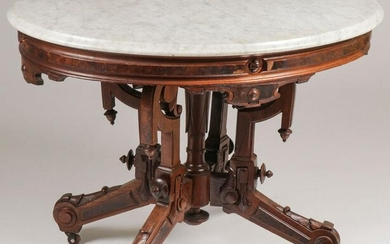 PAIR VICTORIAN MARBLE TOP TABLES