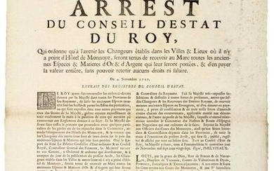 """PARIS. 1727. EXCHANGE OF CURRENCIES & GOLD & SILVER MATERIALS. """"Arrest of the Council of State of the King, of November 4, 1727, which orders that in the future the EXCHANGERS established in the Cities & Places where there is no Hotel de Monnoye, will..."""