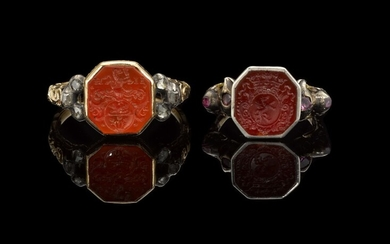 PROBABLY GERMAN, CIRCA 1700 | TWO RINGS SET WITH ARMORIALS