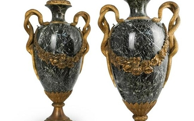 Pair Of 19th Cent. Bronze and Marble Urns