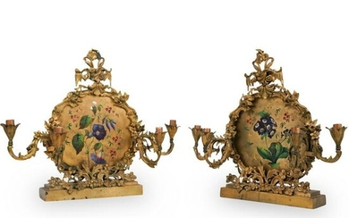 Pair Of Converted Bronze and Painted Sconces
