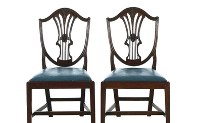 Pair Sheraton carved mahogany side chairs (2pcs)