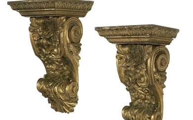 Pair of Carved Giltwood Architectural Brackets