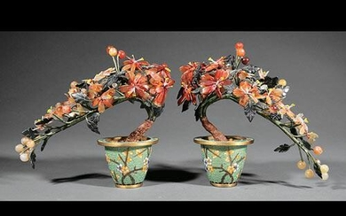 Pair of Chinese Carved Hardstone Miniature Trees