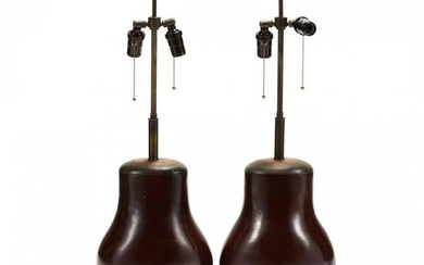 Pair of Chinese Style Bronze Table Lamps