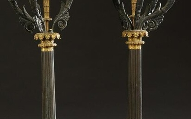 Pair of Empire Style Patinated and Gilt Bronze Six