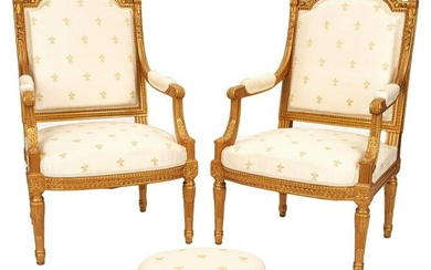 Pair of French Louis XVI Style Fauteuils & Footstool
