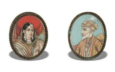 Pair of Hand Painted Mughal Portrait Sterling Pins