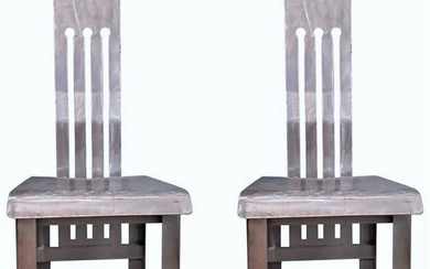 Pair of Metal Industrial Side Chairs