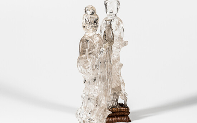 Pair of Rock Crystal Figures of Guanyin