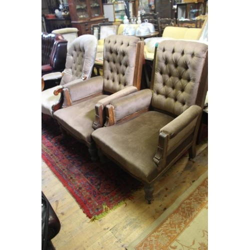 Pair of Victorian Oak Library Chairs with Button back Uphols...