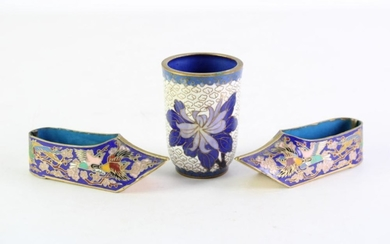 Pair of cloisonne shoe form containers (L10.5cm) together with a small vase (H7.5cm)