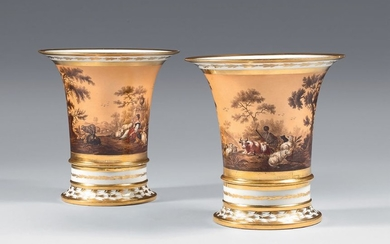 Pair of early 19th century Parisian porcelain cone...