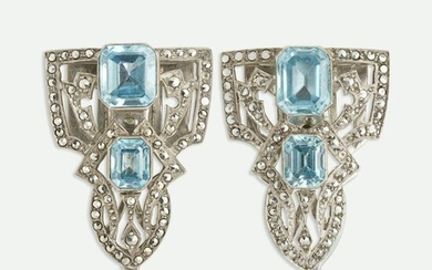 Pair of marcasite and zircon clips
