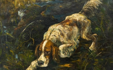 Paul Bettinger (1878-1947 American) Hunting Dog Oil on