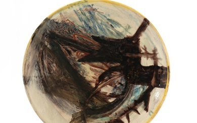 Peter Brandes: Circular plate. Signed Peter Bandes. Ceramic plate decorated with polychrome glazes. Diam. 53.
