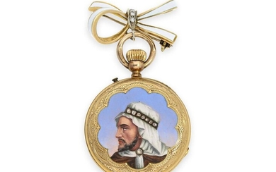 Pocket watch: gold/ enamel pocket watch with diamond setting, finest painting, made for the Arabian market, ca. 1870
