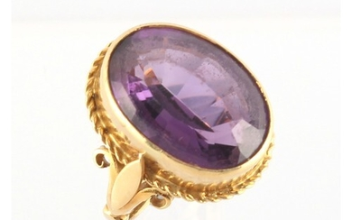 Property of a deceased estate - an 18ct yellow gold amethyst...