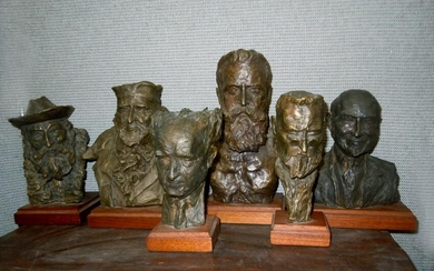 RARE PAUL NESSE FOUNDING FATHERS ISRAEL BRONZE BUSTS