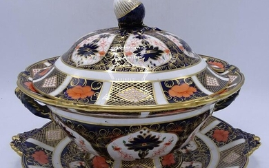 ROYAL CROWN DERBY COVERED TUREEN WITH UNDERPLATE