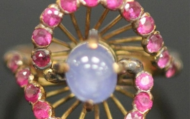 RUSSIAN STAR SAPPHIRE & RUBY 18KT GOLD RING